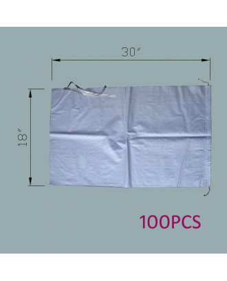 """MTB Sand Bags 18""""x30"""", Empty White Woven Polypropylene w/Ties, UV Protection, 100Pack"""