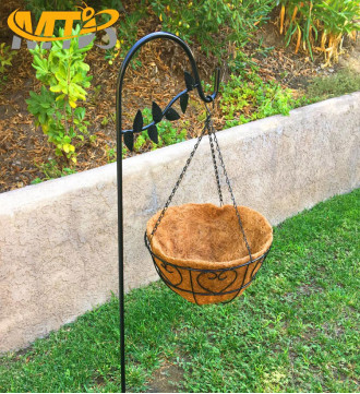 MTB Shepherds Hook 48 Inch Leaves Style Black Strong Rust Resistant Steel Ideal for Hanging Planter, Pack of 2