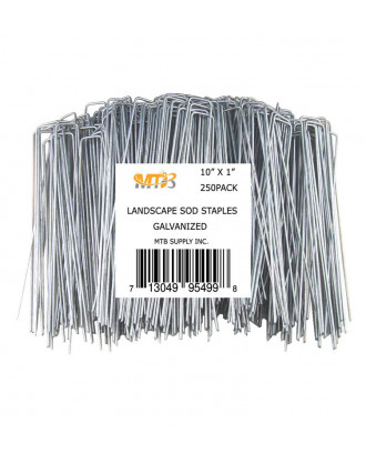 MTB 250 Pack 10x1 inch 11GA(0.12inch) Sod Staples Garden Pins Netting Stakes Ground Spikes Landscape Cover Pegs Anti-Rust Galvanized