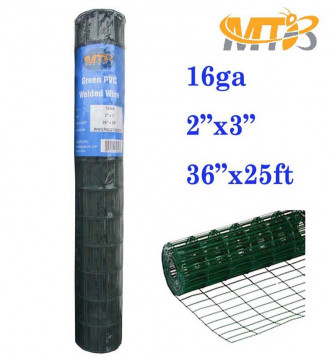 "MTB Green PVC Welded Wire 36""x25'-2""x3"" 16GA"