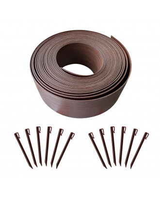 MTB Garden Landscape Edging Coil Kit 4 Inch High Terrace Board with 12 10-inch Spikes,40 FEET, Brown