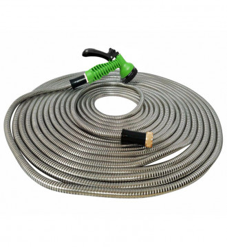 "MTB 304 Stainless Steel Garden Hose 50-ft with Spray Nozzle and 3/4"" Solid Aluminum Connectors, Metal Water Hose"