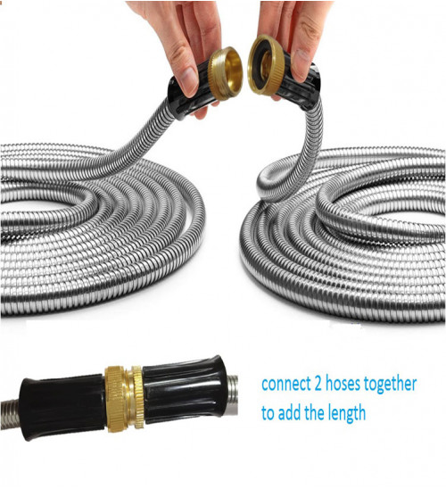 """MTB 304 Stainless Steel Garden Hose 50-ft with Spray Nozzle and 3/4"""" Solid Aluminum Connectors, Metal Water Hose"""