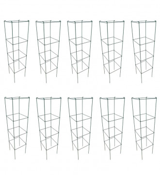 MTB PVC green Square Folding Tomato Cage Plant Support Stake Tower 12 inch by 46 inch, Pack of 10 Sets