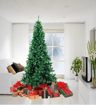 MTB 7.5 Feet Hinged Artificial Christmas Tree with Metal Stand, 1300 Tips Recycled PVC Plastic, Green