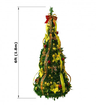 MTB Fully Decorated Pull-Up Christmas Tree, Pre-Lit 6 Feet, Red and Gold